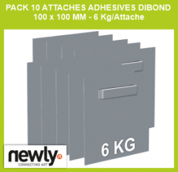 Pack 10 attaches adhesives dibond 100 x 100  mm - 6 Kg