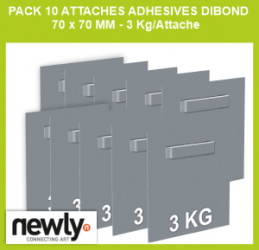 Pack 10 attaches adhesives dibond 70 x 70 mm - 3 Kg