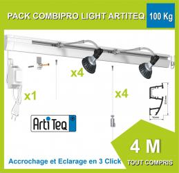 Kit complet cimaise Combi Pro Light rail 40 kG / 4 METRES