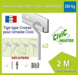 Kit complet cimaise H24 Security 160 kG / 2 METRES
